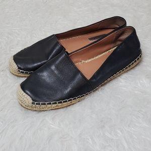 Halogen black leather espadrille slip on flats 8